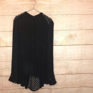 Free people knit black size large blouse